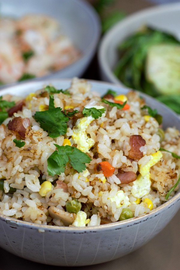Bacon Fried Rice ready to be served with Grilled Bok Choy and Shrimp.
