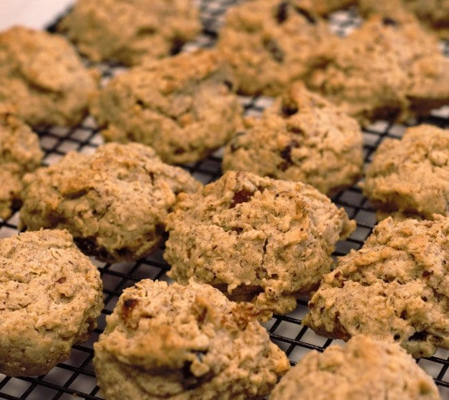 Baked oatmeal breakfast cookies on the cooling rack