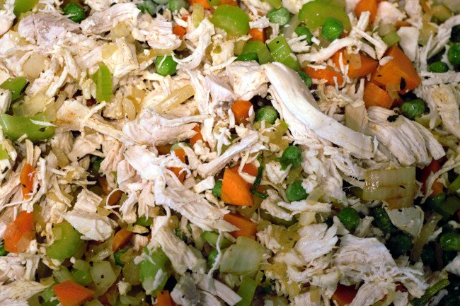 cooked celery, onion, carrot, chicken and peas mixed together for filling.