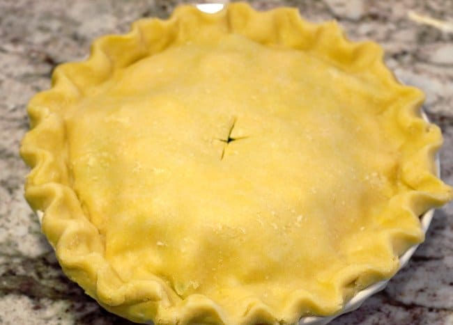 finished pot pie with slit in the top crust