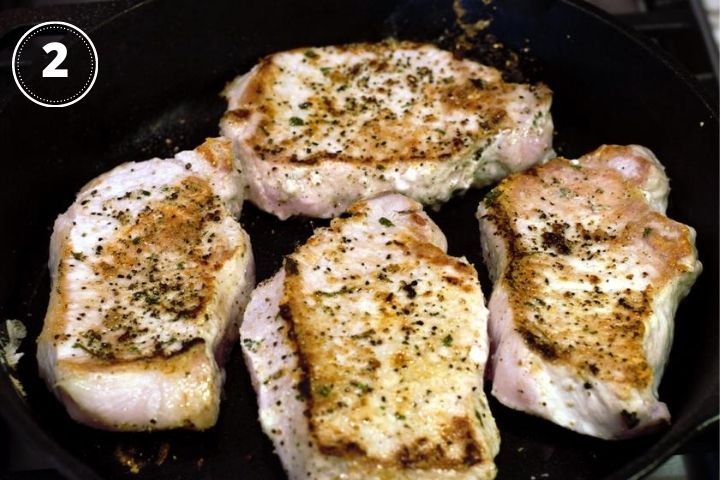 pork chops browned on one side