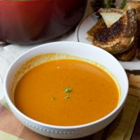 feature tomato basil bisque with grilled cheese