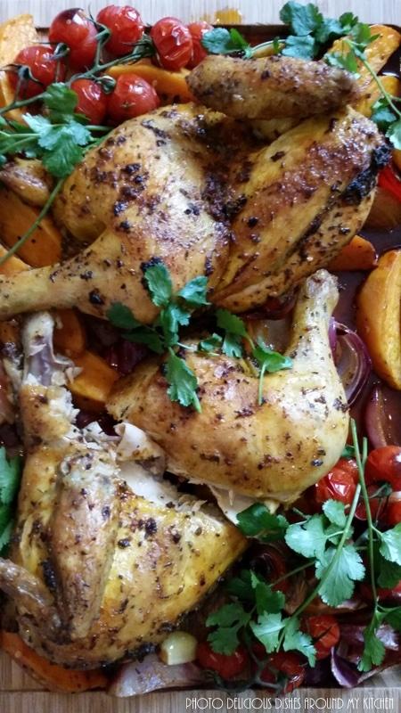 Würziges Paprika- Hähnchen mit Süßkartoffeln und frischem Koriander