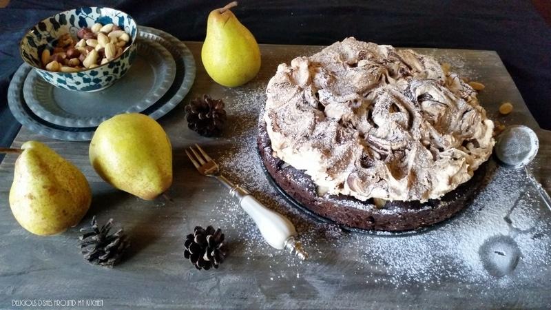 Brownie- Birnenkuchen mit Baiser
