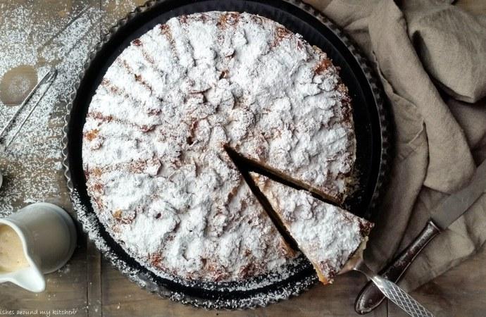 Mandel- Bienenstich- Torte mit Karamellsahne