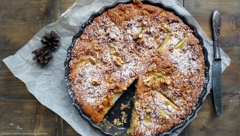Birnenkuchen mit karamellisierten Nüssen