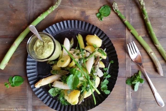 Spargel- Kartoffelsalat mit frischen Gartenkräutern…dazu Guacamole
