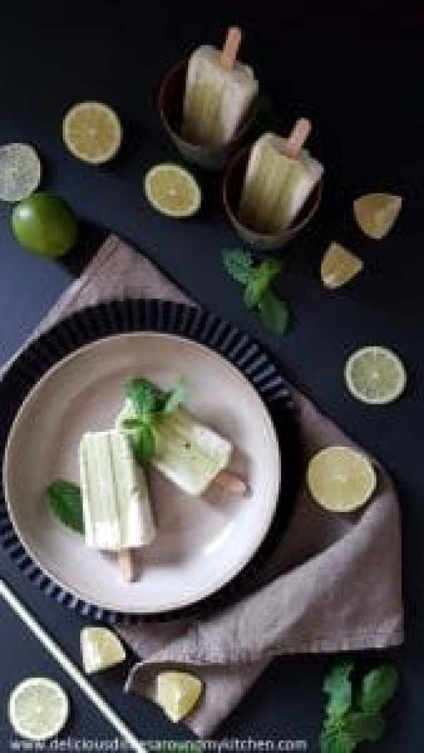 Limetten- Avocado- Eis am Stiel mit Minze