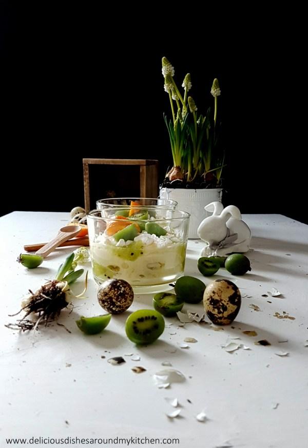 Ein Dessert zu Ostern- Limettencreme mit Kiwibeeren