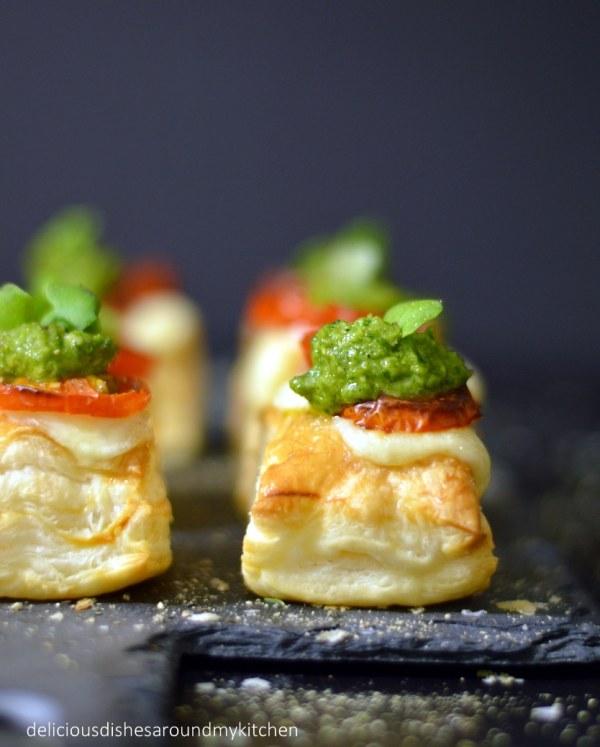 Fingerfood für Silvester- Blätterteig- Häppchen mit zweierlei Topping