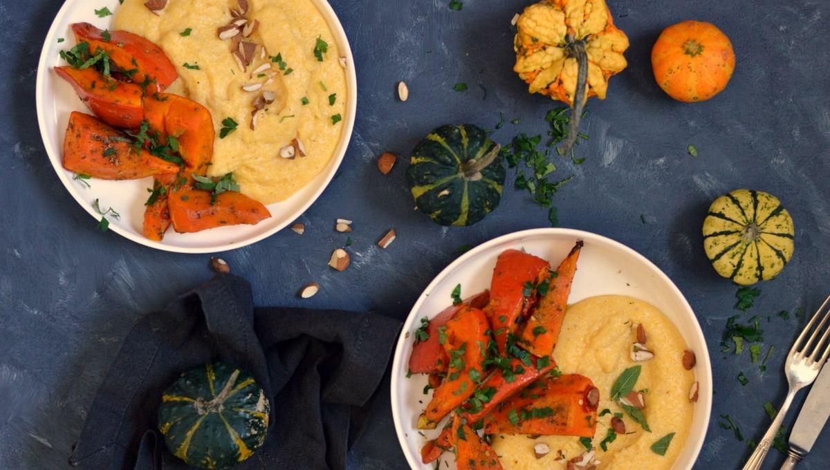 Herbstliches aus dem Ofen- Kürbis orientalisch mit Polenta