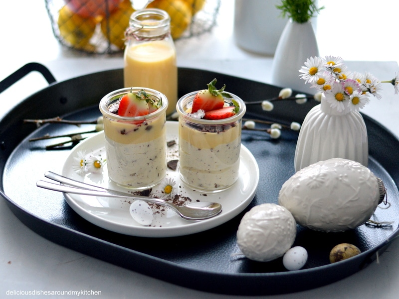 Last Minute- Eierlikör- Mousse mit Schoko und Erdbeere zu Ostern oder auch danach