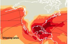[image: part of a world map showing particulate pollution from shipping. Click on the pdf link to see full map.]