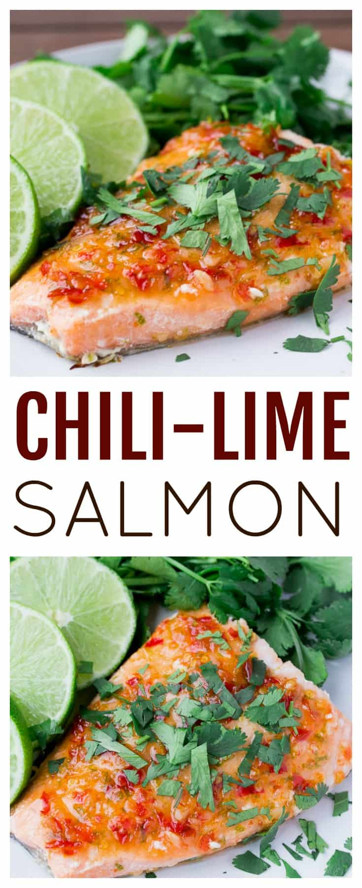 This Chili Lime Salmon Recipe is made with only 4 ingredients. It takes 15 minutes from start to finish making it perfect for busy weeknights! | main dish recipes | #dlbrecipes #salmon #chililimesalmon #salmonrecipe #glutenfree #easyrecipe