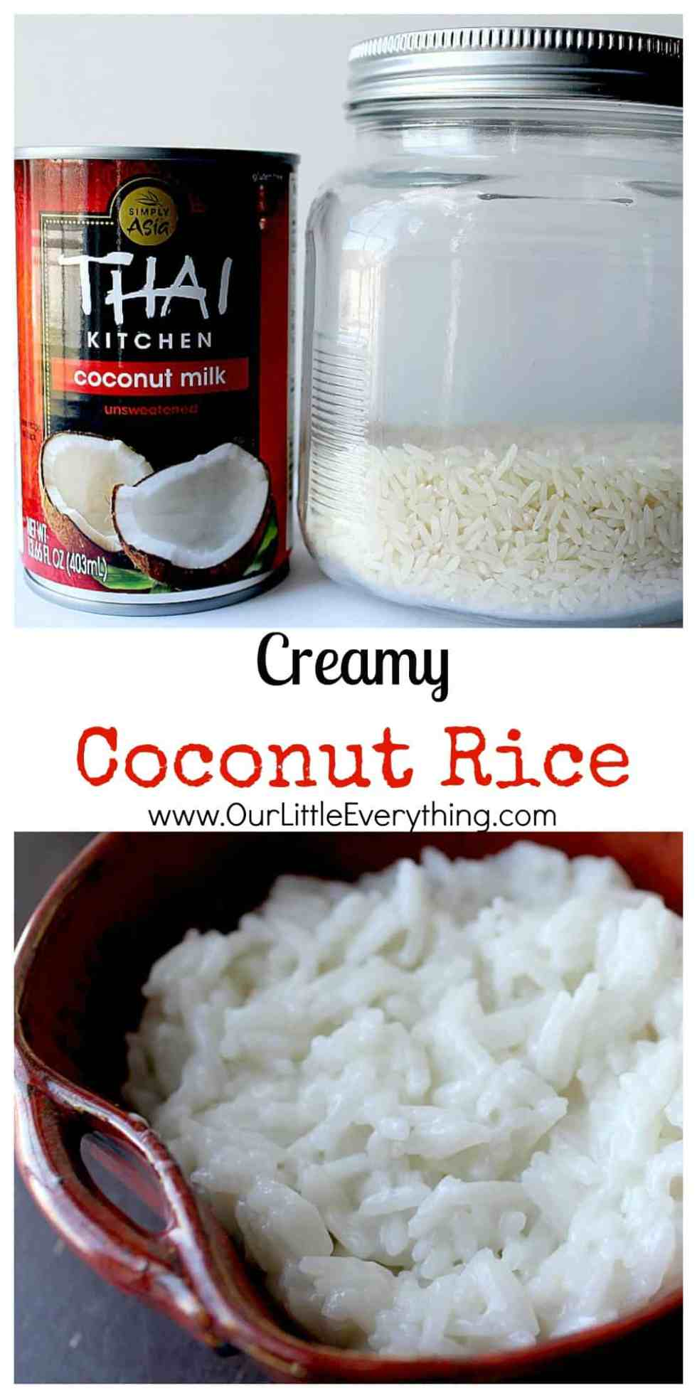 Creamy Coconut Rice - the easiest way to make the creamiest coconut rice that is just loaded with flavor! This coconut rice recipe is made at least once a week and goes so well with so many dishes! Definitely, a family friendly recipe everyone is sure to love! | www.OurLittleEverything.com