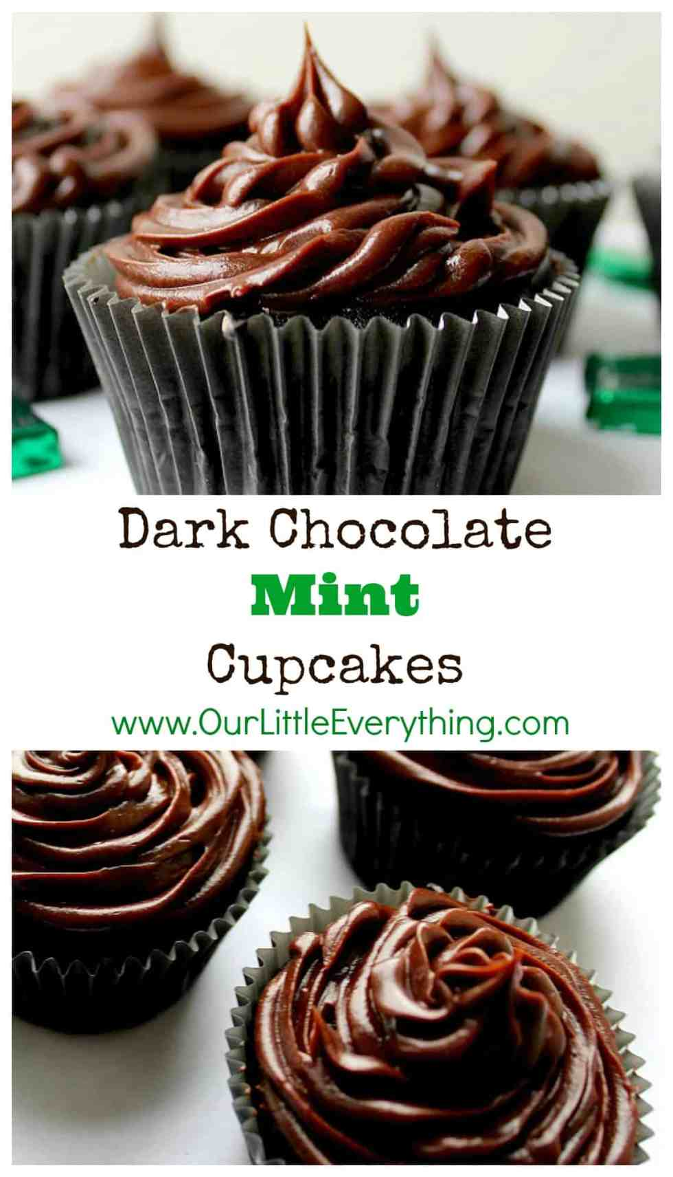 Ohhh these Dark Chocolate Mint Cupcakes were so easy to make and very indulgent! The mint is not overpowering at all! They will make the perfect Valentine's Day dessert but I can see making these for birthdays, as a St. Patrick's Day dessert, or even for Christmas! | www.OurLittleEverything.com