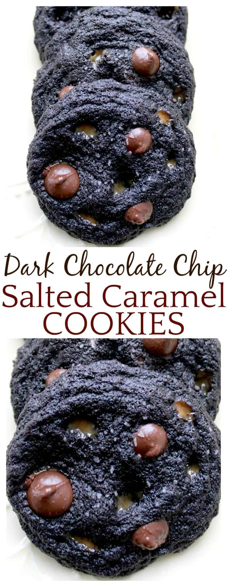 These Dark Chocolate Chip Salted Caramel Cookies are perfection! They are decadent with a chewy center and crispy edges! This cookie recipe combines chocolate with salted caramel...oh heck yes! Just delicious!