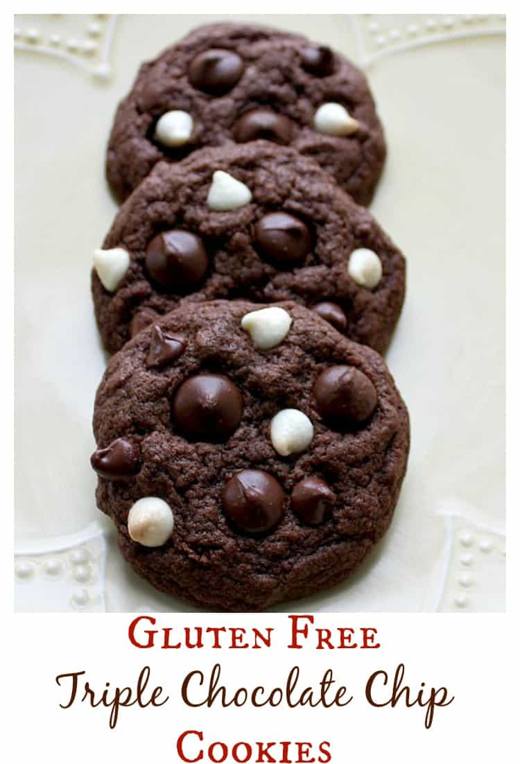 The best gluten free chocolate cookie recipe I've tried yet! Milk chocolate, dark chocolate, and white chocolate chips are loaded into these gluten free chocolate cookies - for serious chocolate lovers! | www.OurLittleEverything.com