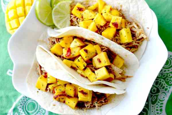 Pulled Chicken Tacos with Spicy Mango Lime Chutney