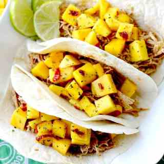 Pulled Chicken Tacos with Spicy Mango-Lime Chutney