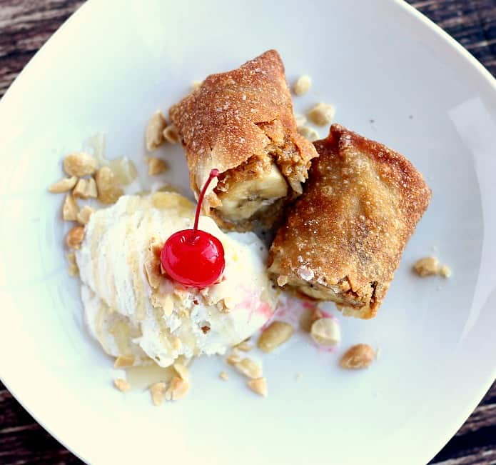 Peanut Butter and Banana Egg Rolls Ice Cream Sundae
