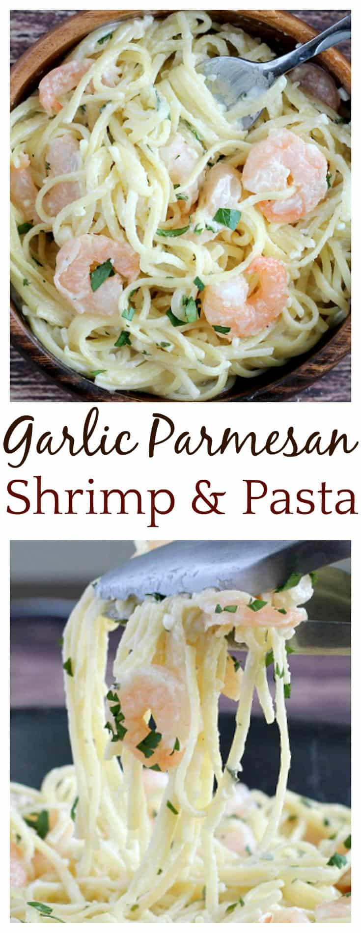 20 Minutes is all it takes to get this creamy, delicious Garlic Parmesan Shrimp and Pasta recipe on the table! It's a family friendly recipe that's perfect for busy weeknights!