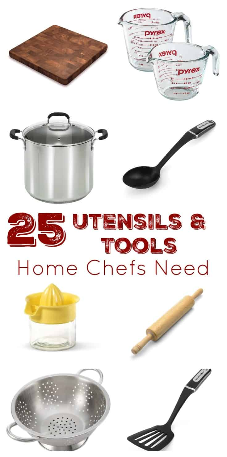 Check out this list of 25 utensils and tools home chefs need! It's a great resource to stock your own kitchen, for gift ideas, or to help a first time home owner have everything they need to make the food they love! A great resource for all foodies and people who love to cook! | www.DeliciousLittleBites.com