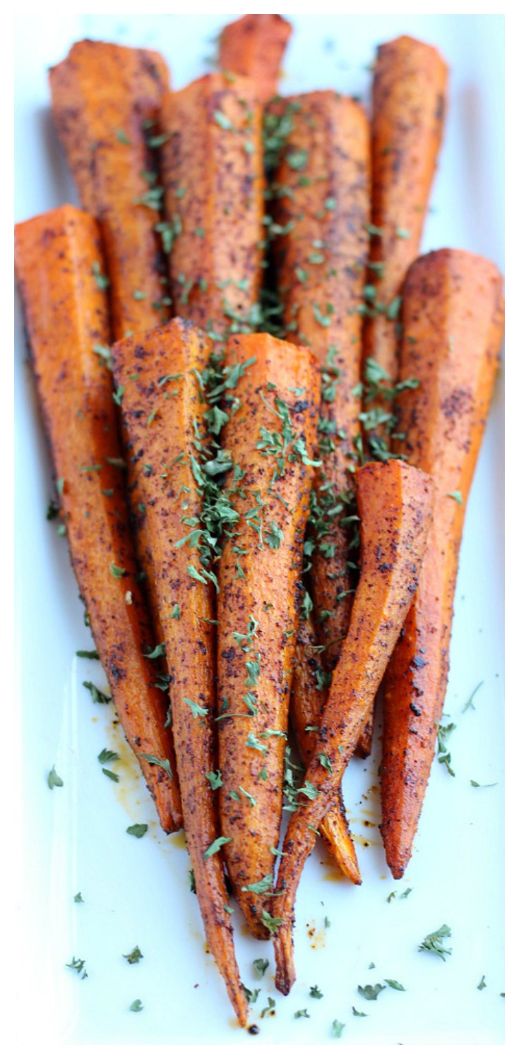 These Roasted Chili Spiced Carrots aren't just a side dish recipe - they will be the star of the meal! Pair alongside grilled chicken, steak, turkey, or pork! This is another easy vegetarian, gluten free recipe to add to your collection!