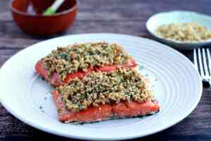 Sweet & Spicy Walnut Crusted Salmon