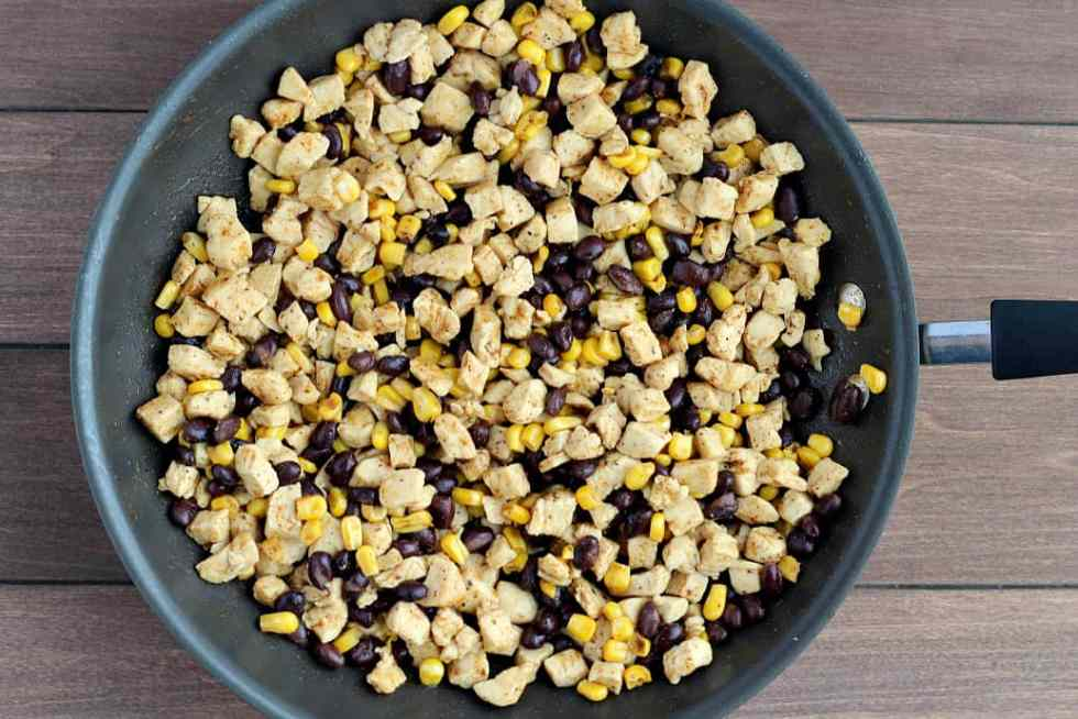 Cooked Chicken with Black Beans and Corn