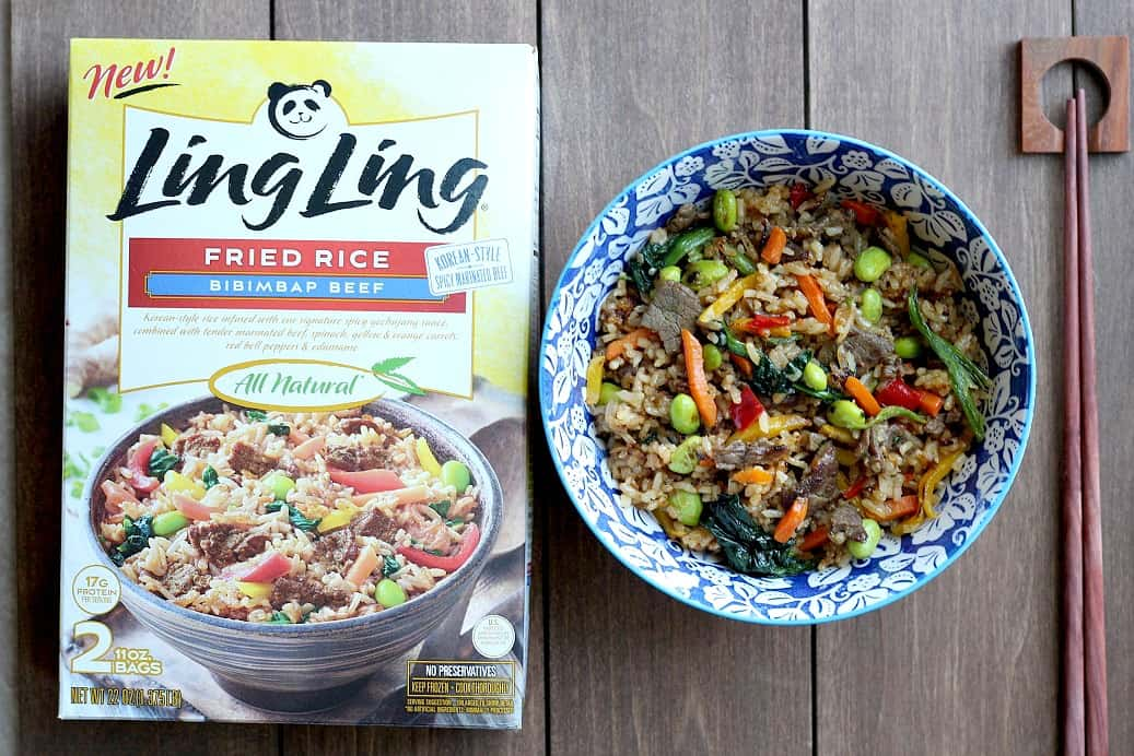Ling Ling Bibimbap Beef Fried Rice (in Packaging and Bowl)