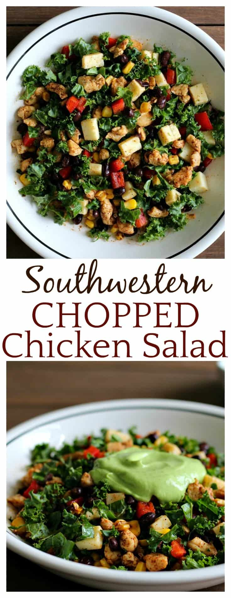 This Southwestern Chopped Chicken Salad is full of healthy ingredients! Kale,vegetables, cheese, and chicken are chopped and combined, then topped with an incredibly delicious Cilantro Lime Avocado Puree! This is an easy recipe that's perfect for a hearty lunch or dinner!