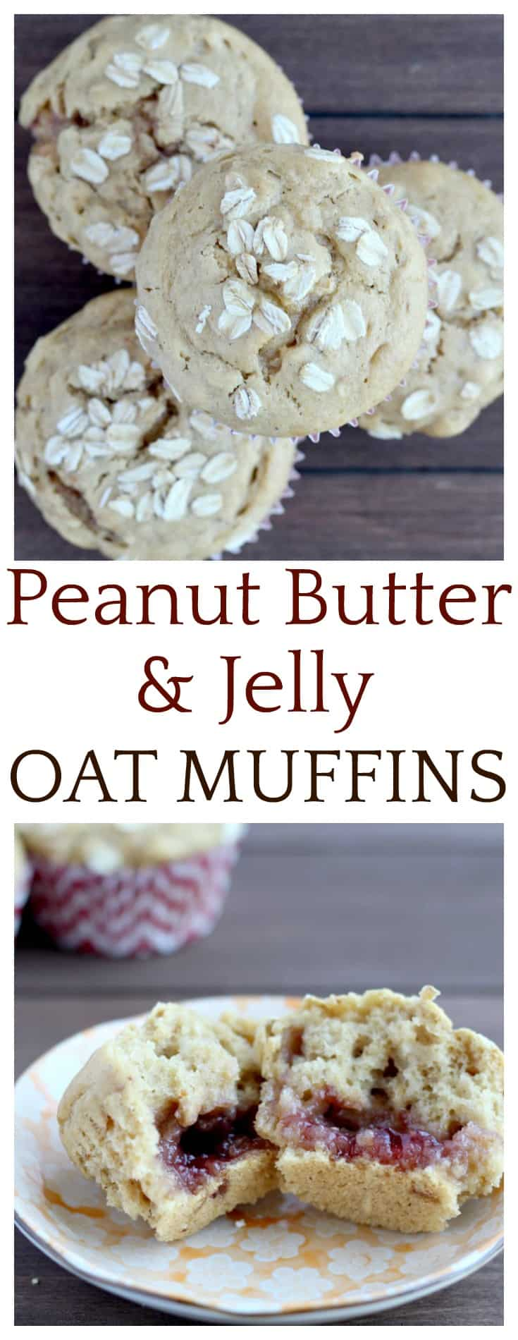 Peanut butter and jelly is such a classic flavor combination. It's fun to mix things up which is how this recipe for Peanut Butter & Jelly Oat Muffins came about!  The jelly is a fun little surprise in the middle!