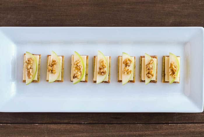 Crackers with Cheese, Apples, and Honeyed Walnuts