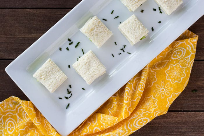 An Overhead View of the Mini Cucumber Tea Sandwiches on a Serving Tray with a Napkin