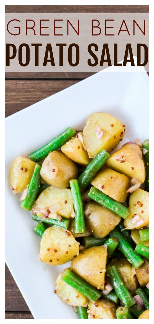 Green Bean Potato Salad is an easy, delicious side dish recipe that is perfect for any cookout or barbecue this summer! | gluten free | #dlbrecipes #summerrecipe #easyrecipe #glutenfree #potatosalad
