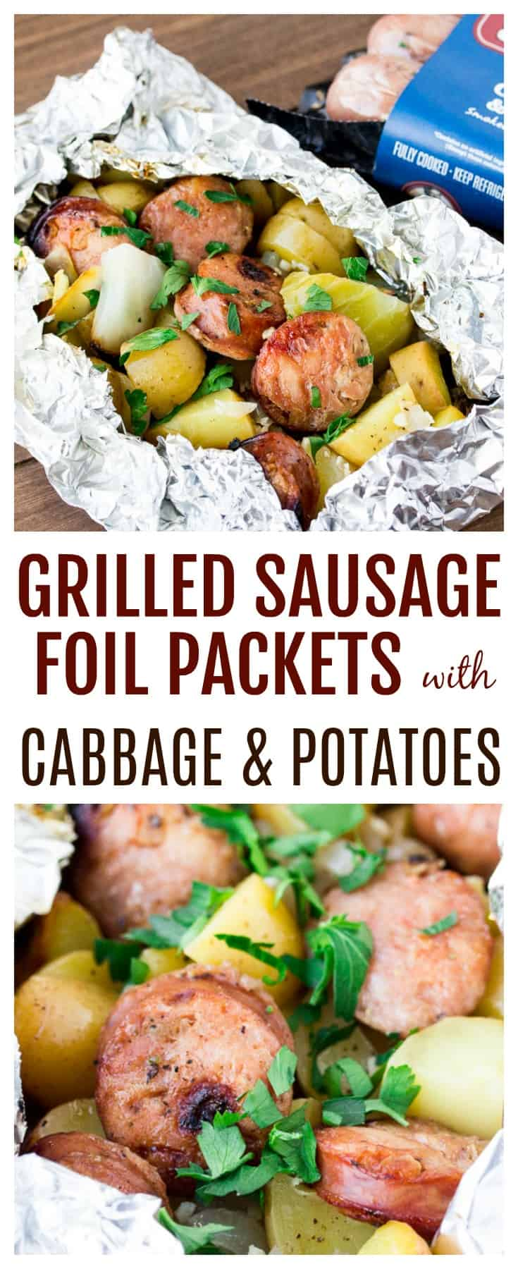 This easy recipe for Grilled Sausage with Cabbage and Potatoes is a perfect grilling dinner recipe even for busy weeknights! It's gluten free and delicious! | #ad #grilledsausage #chickensausage #summerrecipes #glutenfree
