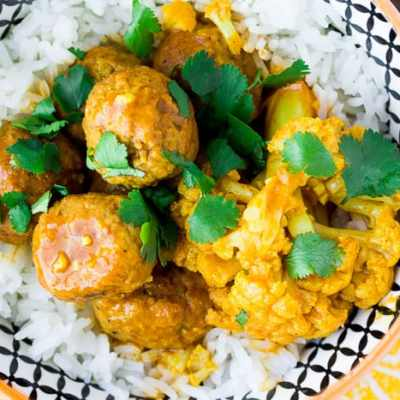 Pressure Cooker Coconut Curry Meatballs & Cauliflower