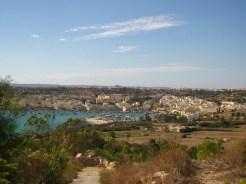 Marsaxlokk's bay from a distance.