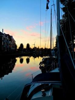 Medemblik harbour in dusk.