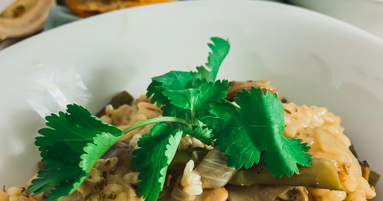 Instant Pot Vegan Mushroom & Asparagus Risotto