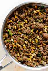 spiced gorund beef with parsley and pine nuts