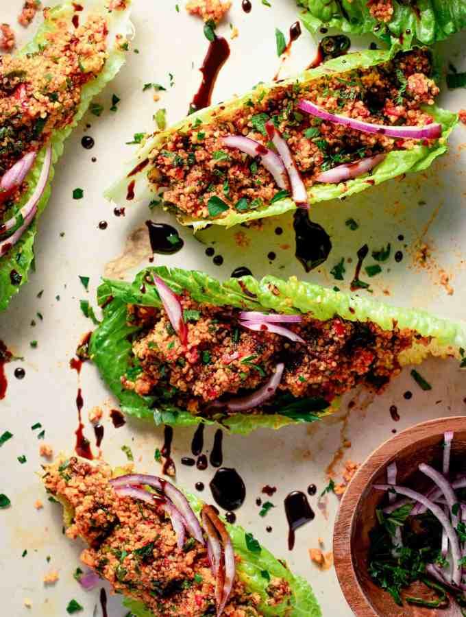 kisir a turkish bulgur salad on lettuce leaves