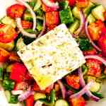 tomatoes, cucumbers, red onion and feta cheese salad