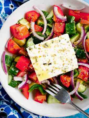 White filled with greek salad