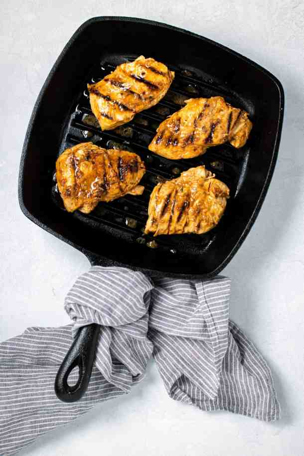 greek marinated chicken breast in grill pan