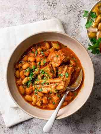 Close up of the Libyan Borlotti soup