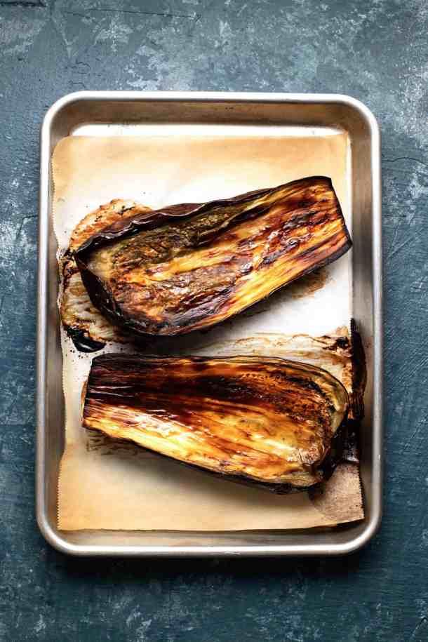 roasted eggplant on a baking sheet