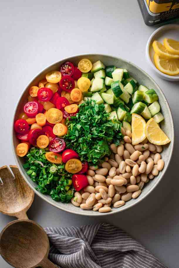 simple bean salad showing all the ingredients in a grouped together; tomatoes, green onions, parsley, cucumbers, lemon, and white beans