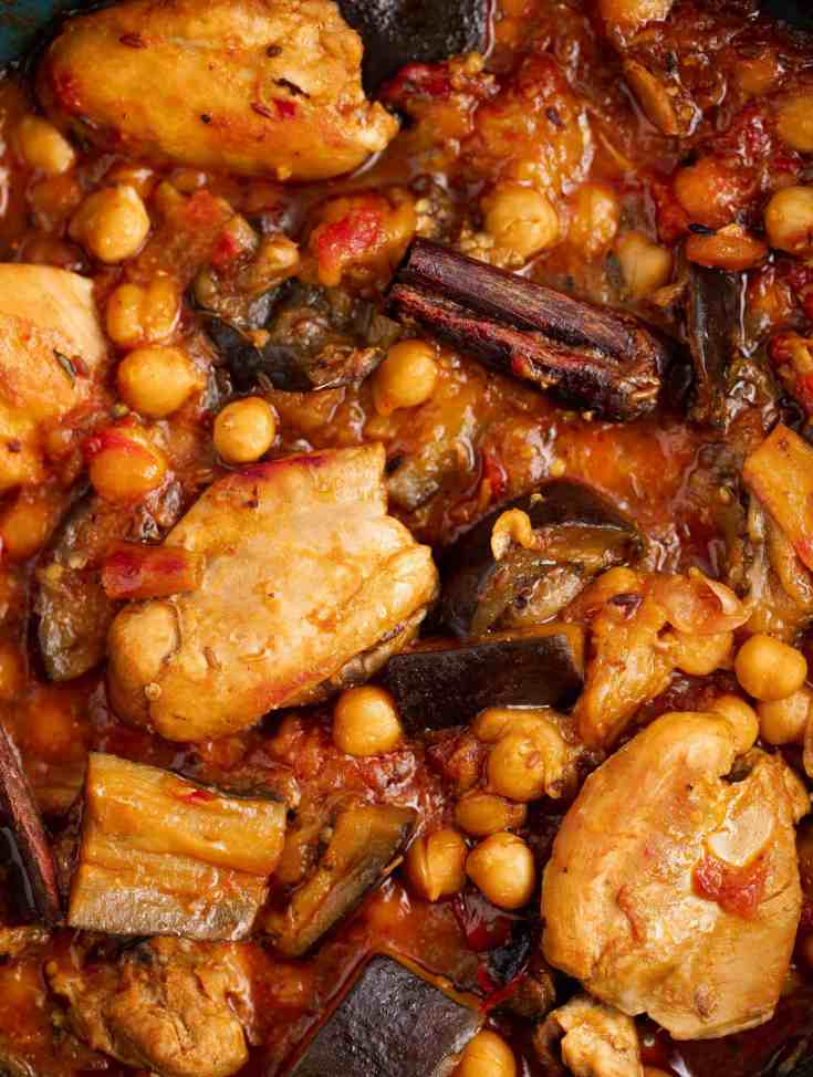 close up of chicken and eggplant tagine